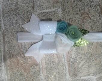 Felt flower an glitter bow headband