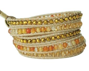 Orange Striated Agate & Czech Crystal 5x Wrap Bracelet