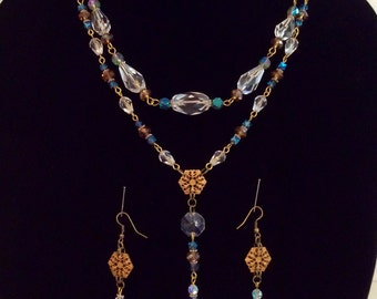 Art Deco style necklace and earring set