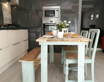 NOW SOLD Rustic dinning table with matching chairs and bench