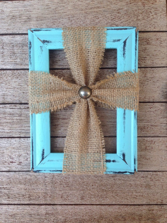 items similar to picture frame burlap cross on etsy