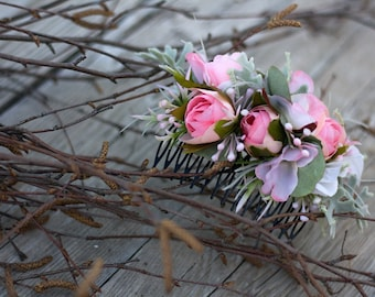 Flower hair comb, floral hair comb