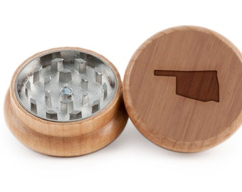 Oklahoma Herb Grinder, Wood Grinder, Spice Grinder, Personalizable and Customizable Gift, Groomsmen Gift