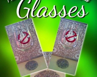 ghostbusters hand-painted wine glass