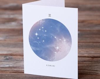Gemini Birthday Card, Zodiac Birthday Card, Birthday Card, Printable Gemini Card, Digital Download, Gemini Card, Gemini Star Sign, Gemini