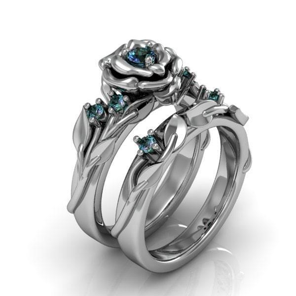 Mystic Topaz Engagement Ring Set Promise Ring By SupernovaGems