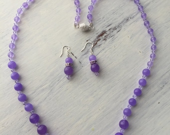 Long Purple Stone Beaded Necklace with Matching Earrings