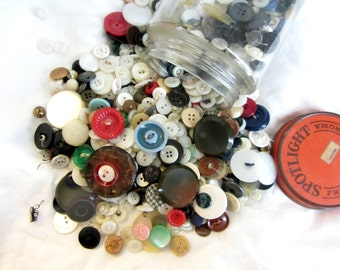 Vintage Coffee Jar Full of Vintage Buttons,  Perfect for crafting projects, sewing, scrapbooking, card making, needlepoint, extra supplies