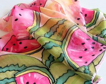 Hand painted long silk summer motif scarf
