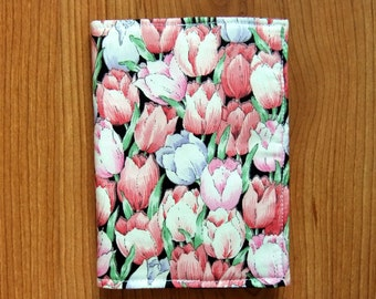 Passport Cover/Holder-Print Tulips Flowers Cotton Fabric Passport Soft Case