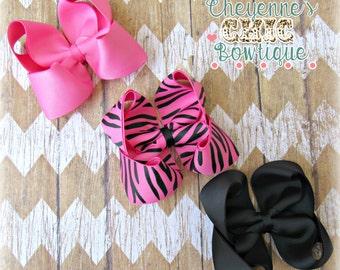 Pink Zebra Hair Bow Set