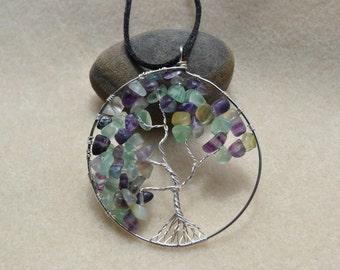 Tree of Life Fluorite Chip Pendant - Item 001