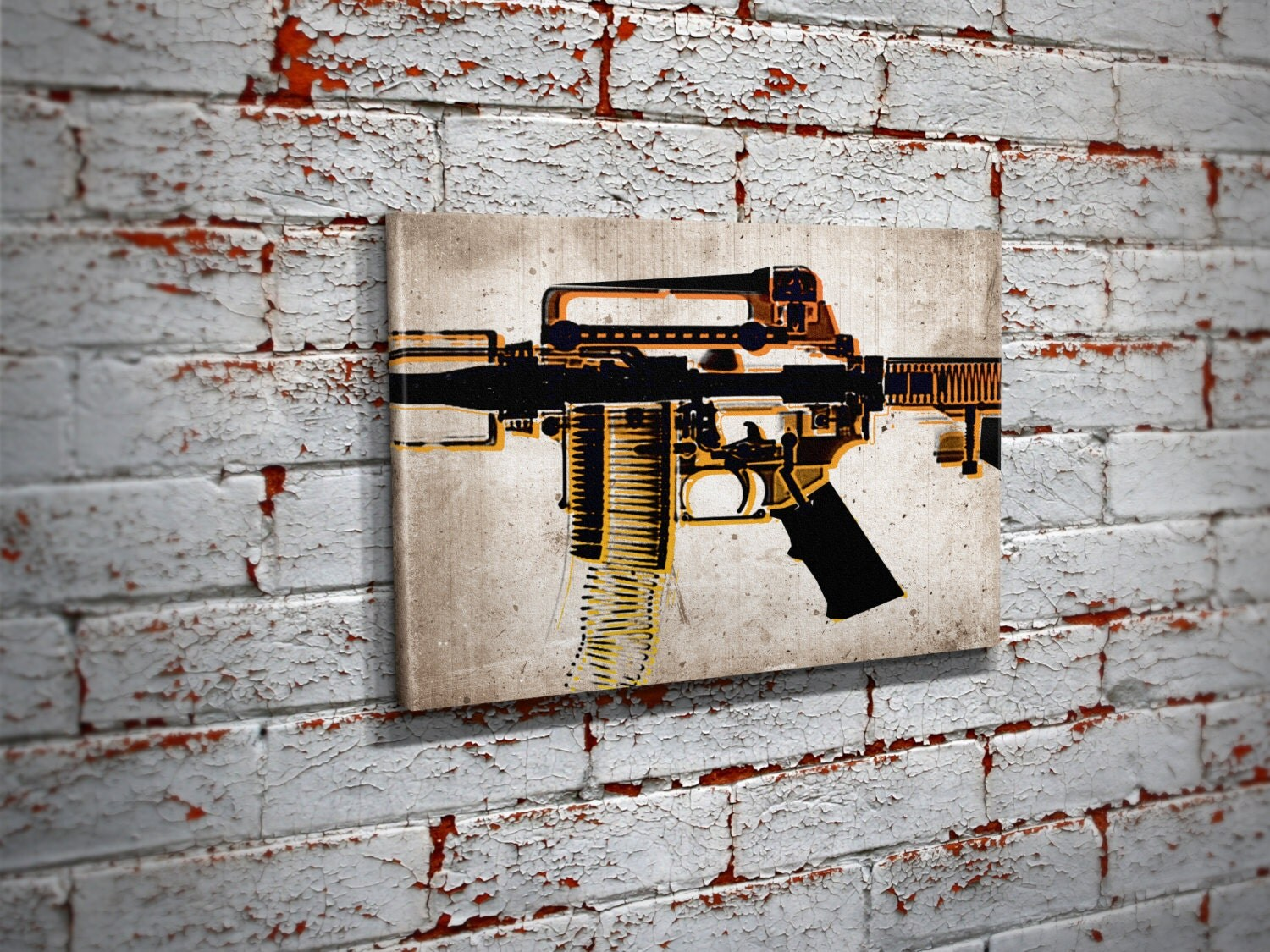 Ar 15 X Ray Pop Art Canvas Print Ar 15 Pro Gun Wall Art