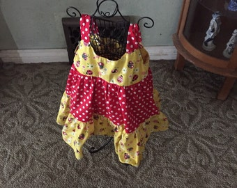 Red and yellow ladybug dress
