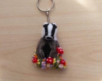 Badger Keyring,Badger Keychain,Badger Gift,Badger,Animal,Woodland,Wildlife
