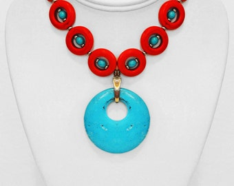 Magnesite/Howlite Stone Tribal Necklace