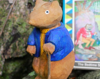 Wood Carving Mouse Thornton W. Burgess Book Vintage Danny Meadow Mouse Hand Painted Water-based Paint Basswood Hand Carved Animal