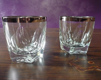 Pair of Silver-rimmed Lowball Glasses