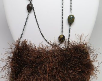 Dressy-Casual-Evening-Bag-Vintage-Handmade-Purse-Lapidary-Chain-Brown-Knit-Fringe REDUCED Price