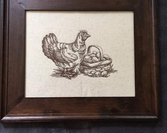 Country Hen...wooden framed embroidery