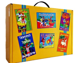Retro Style Suitcase Gift Box - Tropical