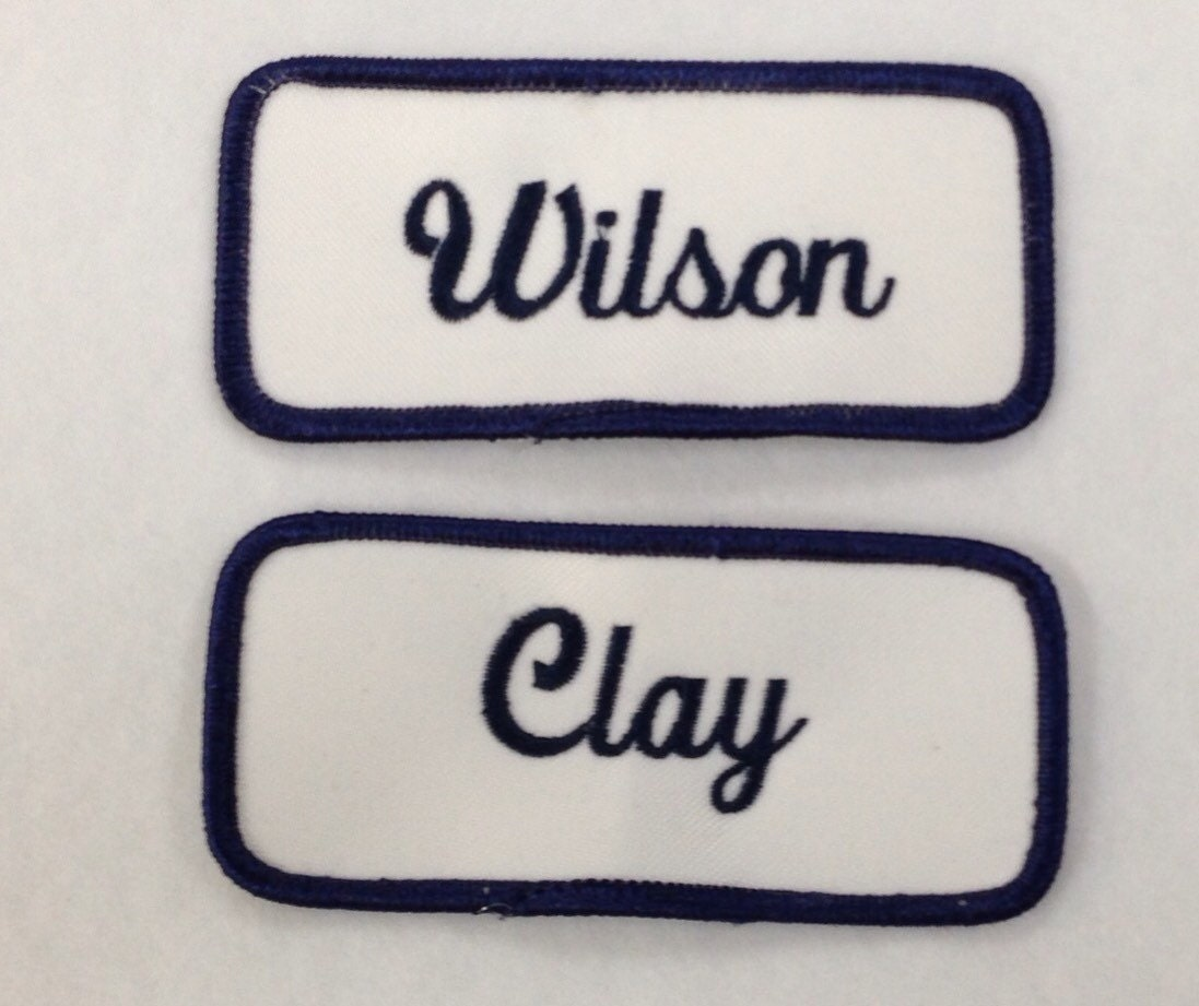 Name tags personalized name patches embroidered emblem heat for Embroidered tags personalized