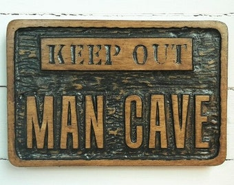 Rustic/Man cave/hand carved/plaque/ Fathers Day/ Man Cave