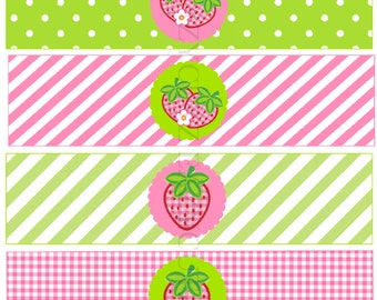 Strawberry Birthday Printable Water Bottle Labels Instant Download Strawberry Party Decorations Strawberry Labels Summer Party Water Labels