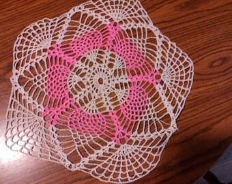 "12"" pink crochet pineapple doily"