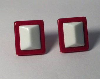 Vintage Earrings Red and White square post earrings plastic? Resin?