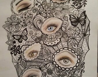 Eyes trapped in lace