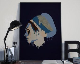Printable Illustration Woman Portrait Wall Art, Digital Download