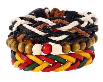 Multilayer Leather Bracelet Vintage Bracelets & Bangles Men Jewelry Boho Rock Wood Bead Bracelets
