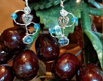 London Blue Topaz wire wrapped drop earrings