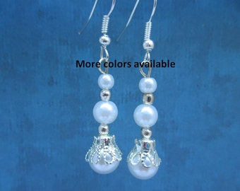 Pearl Earrings-Bridesmaid gift-Maid of Honor gift-wedding party gift-bridal party gift-wedding party jewelry-Mother of the Bride/Groom, E168