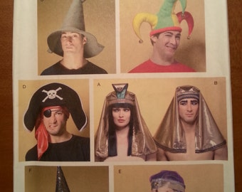 Butterick B4313 Wizard, Witch, Jester, Pirate, Harem, Egyptian Hats One Size