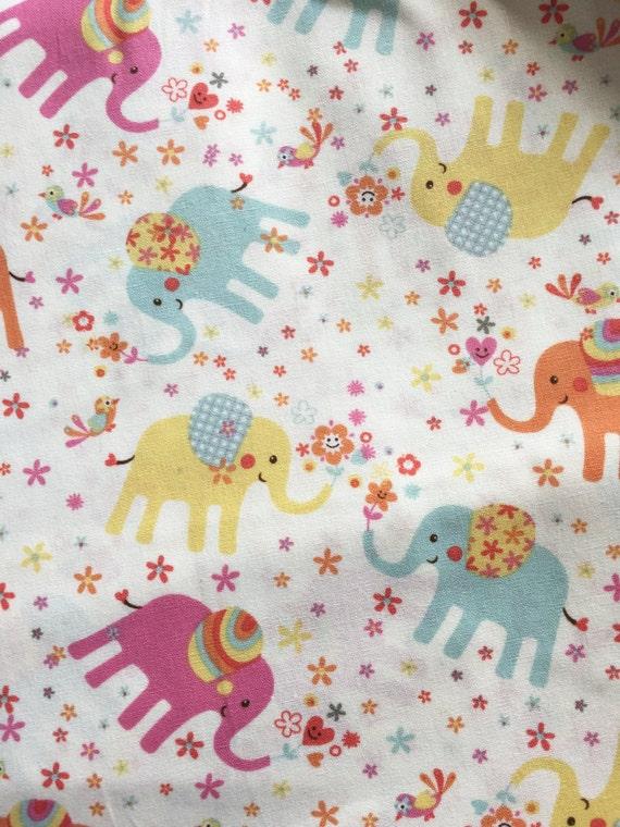 Elephant girl nursery fabric light yellow elephant for Yellow nursery fabric