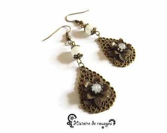 "Romantic earrings baroque flower white labradorite, ""Reflections of Moon"""