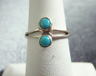 Sterling Silver Dainty Turquoise Color Ring RR29