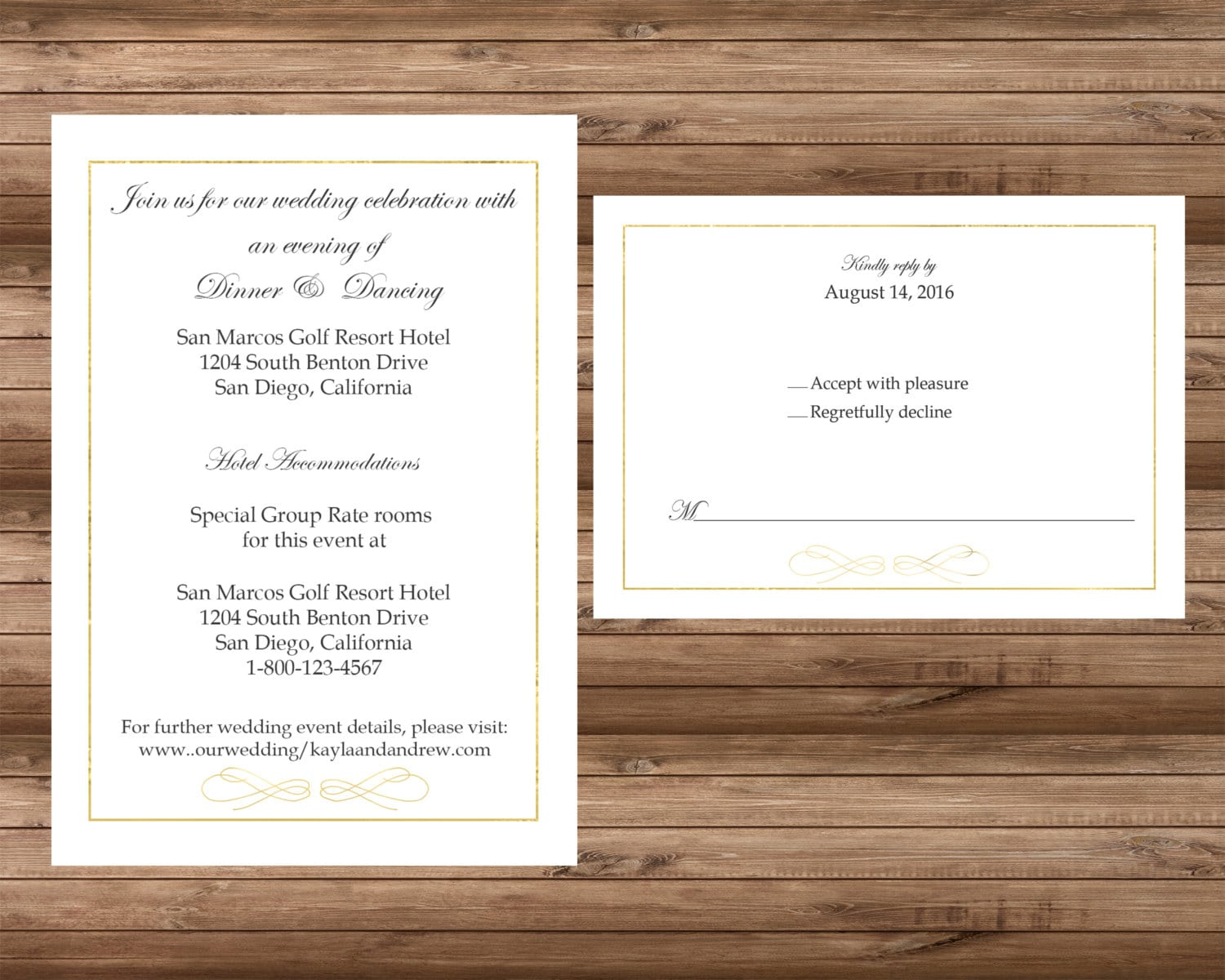 Digital-DIY Simple White and Gold Border Wedding Invitation DIY Kit ...