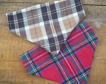 Plaid Flannel Dog Bandana, tartan plaid, christmas, slide on bandana, brown, thanksgiving, red plaid, winter, stocking stuffer, dog lover