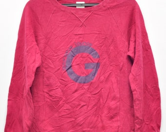 Vintage Gourgues loung Sweater Cotton Sweatshirt Red Sweatshirt Casual Swearshirt Medium Size
