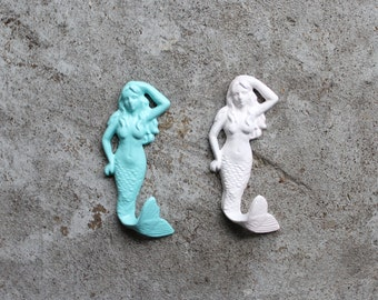 SALE-Mermaid Cast Iron hook/Nautical/Shabby chic/Aquamarine