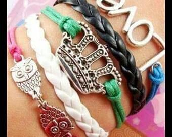 CUTE Multi Colored CROWN Infinity Bracelet