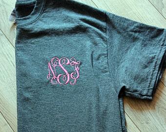 Gildan Monogrammed T-Shirt/Embroidery Shirt/Initials T-Shirt