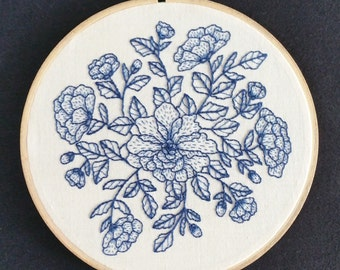 "Floral (beige-blue)  (hand embroidery. 6"" hoop art. home decor)"