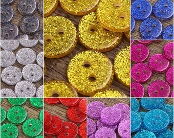9 Colors Glitter Sparkle Button for Project Crafts (Lot of 20pcs)