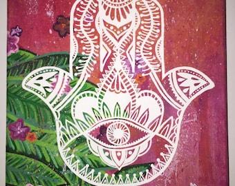 Tropical Hamsa Canvas