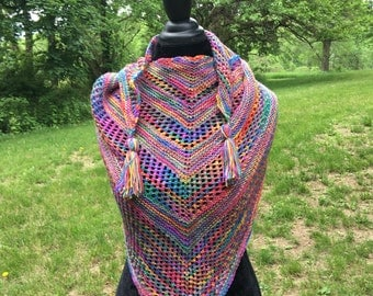 Oh Happy Day Hand Knit Shawl