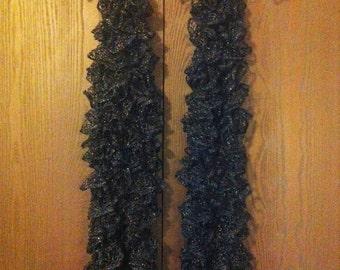 Black/Sparkly Scarves, Periwinkle, Lavender, Purple/Silver Edge, Grey/Silver Edge Scarf